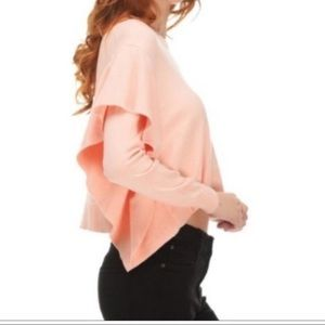NEW Zara Pink Ruffles Crop Sweater Top S